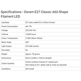 Osram LED Filament Bulb E27  4W Edison Screw